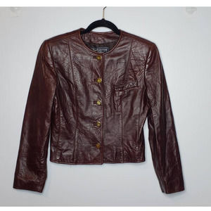 Vintage Burberrys Leather Cropped Button Jacket